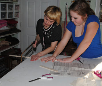 The making of Penny the Piano costume.