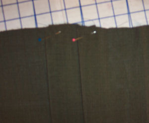 How to pin pleats on a skirt you are sewing.