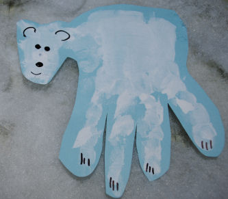Polar bear hand print art project for kids.