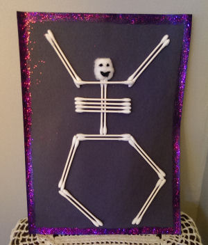 how to make a q tip cotton ball skeleton halloween kids craft project