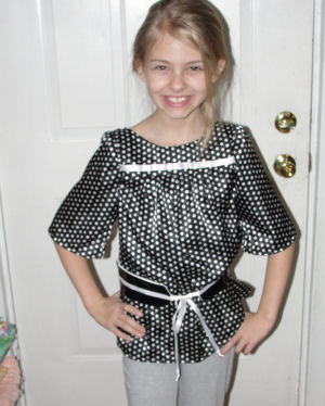 Top and belt made from simplicty pattern 2689, made by Raigan to wear in a fashion show.