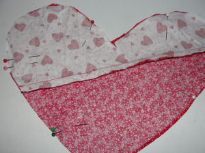 Here's an easy to sew Valentine's day project; a heart shapped pillow.