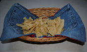 How to make a reversible basket napkin from fabric and recycled denim jeans.
