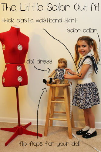 Learn to sew this cute little girl's sailor collar and skirt and matching doll outfit.
