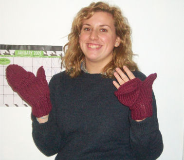 Sarah knitted fingerless mittens!