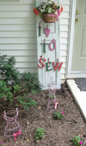 Love to Sew Studio in Chadds Ford show sewing garden art right in front of our studio.