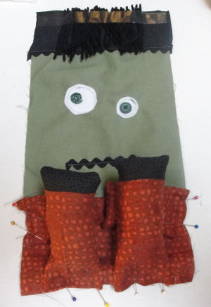Learn to sew a Halloween Frankenstein doll.