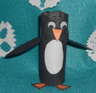 Toilet paper roll penguin arts and craft project for kids.