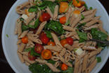 Here is a healthy delicious recipe for tomato, basil, mozzarella, and grilled chicken wheat pasta.