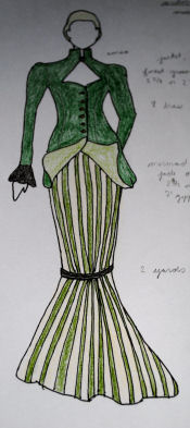 Sketch of the female vampire costume with a pinstripe full length mermaid skirt.