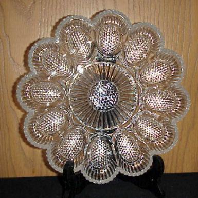 Vintage depression glass deviled egg plate. & Decorating for Easter time Photos of deviled egg plates