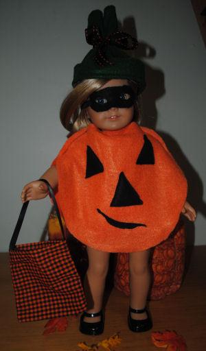 Free American girl Halloween Pumpkin costume to sew, How to make an American girl doll Pumpkin ...