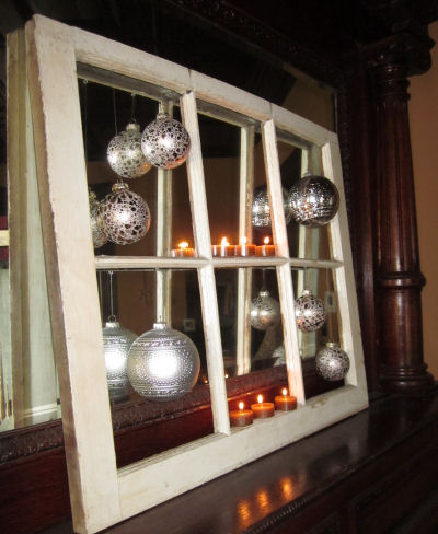 Handmade Christmas Crafts And Decorations Recycle An Old Window Into A Shabby Chic Tree Ornament Display